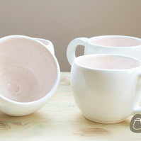 White and Peach Mugs - Set Of 2 White and Pale Orange Cups