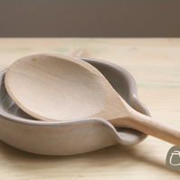 Spoon Rest - Grey Green with Plum speckles Stoneware Pottery