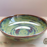 Wide Bowl - Woodland Green Stoneware Platter - Pasta Bowl - Decorative Bowl - Ce