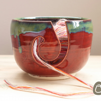 Yarn Bowl - Deep Red and Blue Green Wool Bowl