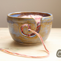 Yarn Bowl - Tan and Ice Blue Stoneware Wool Bowl