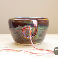 Yarn Bowl - Woodland Green Wool Bowl - Stoneware