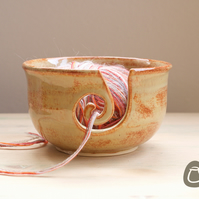 Yarn Bowl - Fiery Orange Wool Bowl