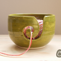 Yarn Bowl - Speckled Olive Green Yarn Bowl