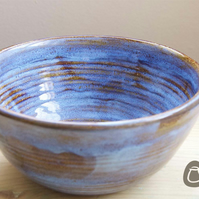 Large Bowl - Tan and Ice Blue Serving Bowl - Decorative Bowl - Dish