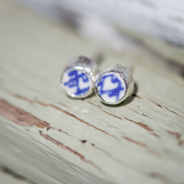 Blue and White Sea Pottery Silver Ear Studs