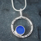 Blue Sea Glass & Silver Circles Pendant