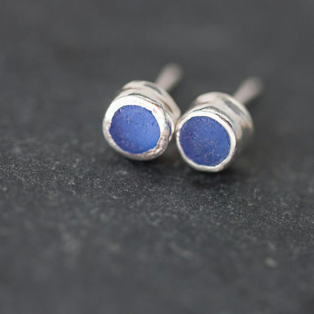 Blue Sea Glass & Silver Circle Ear Studs