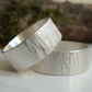 Sterling Silver Woodland Bark Texture Ring - Wide Silver Band - Hammered Ring