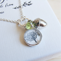 Sterling Silver Acorn Charm Necklace with Tree Art Charm and Peridot Gemstone