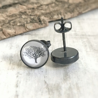 Sterling Silver Oak Tree Studs - Woodland Earrings - Oxidised Black Silver