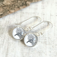 Sterling Silver Tree Illustration Charm Earrings-Mighty Oaks from Little Acorns