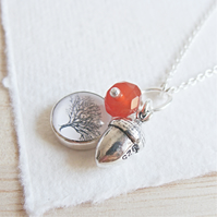 Sterling Silver Acorn Charm Necklace with Tree Art Charm and Carnelian Gemstone