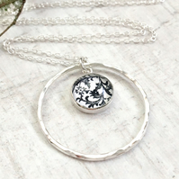 Sterling Silver Black and White Floral Print Circle Loop Pendant Necklace