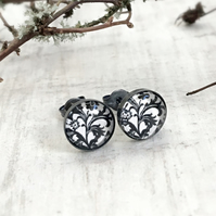 Dark Oxidised Sterling Silver Black and White Floral Patterned Stud Earrings