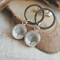 Circle Studs with Tree Charms - Oxidised Sterling Silver Woodland Tree Earrings
