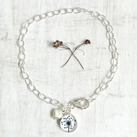 Sterling Silver Love Heart Dandelion Charm Bracelet with Brushed Heart Charm