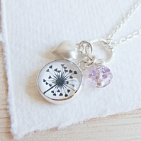 Amethyst, Dandelion and Heart Charm Sterling Silver Cluster Necklace