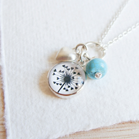 Sterling Silver Turquoise, Heart and Dandelion Art Charm Cluster Necklace