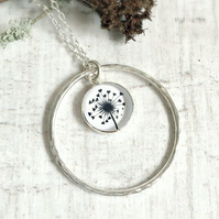 Sterling Silver Love Heart Dandelion Flower Seed Circle Loop Pendant  Necklace