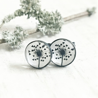 Oxidised Dark Sterling Silver Love Heart Dandelion Stud Earrings-Dandelion Studs