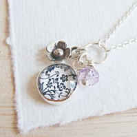 Sterling Silver Floral Pattern Charm Necklace with Silver Flower and Amethyst