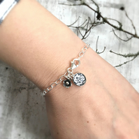 Floral Charm Bracelet - Sterling Silver Flower Charm - Black and White