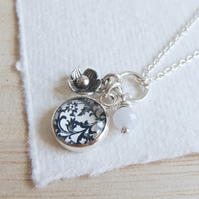 Floral Cluster Charm Necklace in Sterling Silver with Blue Agate Gemstone Bead
