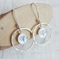 Sterling Silver Tree Charm Circle Dangly Earrings - Nature Illustration Earrings