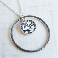 Oxidised Silver Black and White Floral Print Circle Loop Pendant Necklace