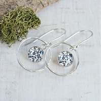 Floral Art Charm Dangly Earrings With Sterling Silver Circle Loops