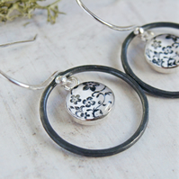 Floral Art Charm Dangly Earrings With Oxidised Sterling Silver Circle Loops