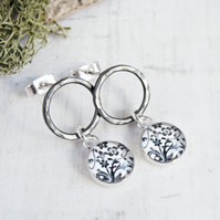 Oxidised Silver Circle Studs with Black and White Flower Art Charms