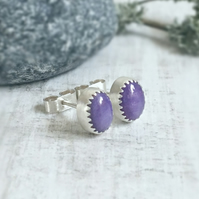 Russian Charoite Oval Cabochon Sterling Silver Stud Earrings