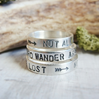 Not All Who Wander Are Lost Stamped Quote Sterling Silver Stacking Ring