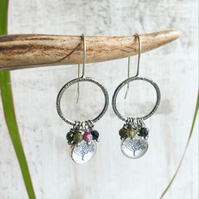 Oxidised Sterling Silver Tourmaline Tree Charm Illustration Earrings