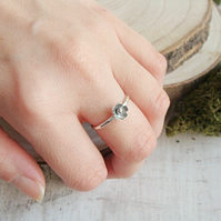 Handmade Sterling Silver Tiny Flower Forget Me Not Hammered Stack Ring