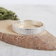 Sterling Silver Woodland Birch Tree Bark Hammered Texture Stacking Ring 4mm Band