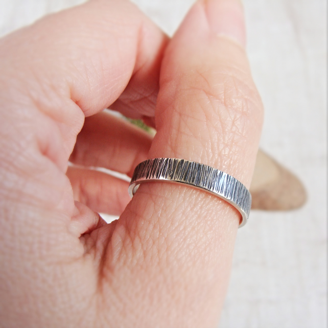 Oxidised Sterling Silver Woodland Birch Tree Bark Hammered Texture Stacking Ring