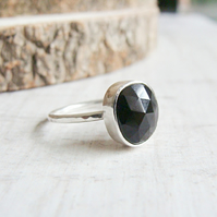 Freeform Faceted Black Onyx Sterling Silver Hammered Stack Ring