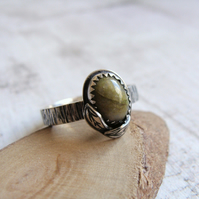 Norwegian Epidote Sterling Silver Leaf Stack Ring Bark Texture Band No.2