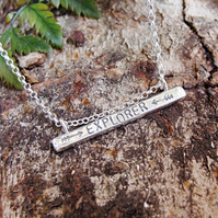 EXPLORER Sterling Silver Stamped Word Quote Bar Necklace