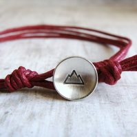 Sterling Silver Mountain Button Burgundy Red Cotton Cord Unisex Men's Bracelet
