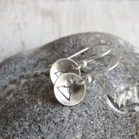Sterling Silver Round Mountain Dangly Earrings
