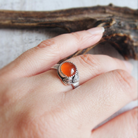Sterling Silver Wood Bark Texture Orange Carnelian Silver Leaves Ring No.1