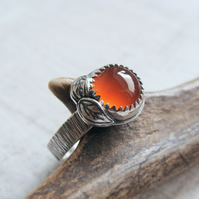Sterling Silver Wood Bark Texture Orange Carnelian Silver Leaves Ring No.3