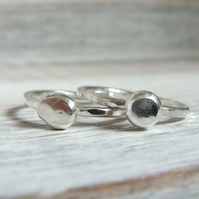 Recycled Silver Pebble Stack Rings - Hammered Silver Band - Beach Seaside Ring