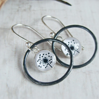 Oxidised Silver Circle Dangly Earrings with Dandelion Illustration Charms