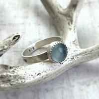 Aqua Chalcedony Wild and Free Stamped Quote Phrase Ring Band Sterling Silver