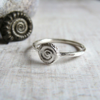 Silver Ammonite Stack Ring - Hammered Stacking Ring - Beach Fossil Jewellery
